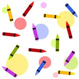 Colourful Crayons Tileable Background. An illustration featuring a collection of colourful crayons set against colourful circles as a tileable background Royalty Free Stock Image