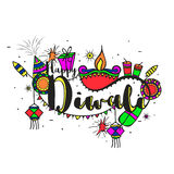 Colourful creative elements for Diwali Celebration. Stylish Text Diwali with colourful creative elements, Vector Typographical Background, Beautiful Greeting Stock Photo