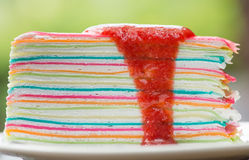 Colourful  Crepe Cake. Close-up Colourful Crepe Cake Royalty Free Stock Image
