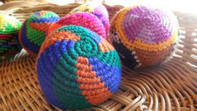 Colourful crochet ball Royalty Free Stock Photos