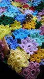 Colourful crochet flowers Stock Photography