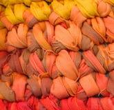 Colourful crochet rag rug closeup Stock Photos
