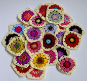 Bright coloured crochet squares Royalty Free Stock Photo