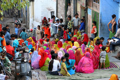 Colourful crowd. Of Indian women sitting together, Jodhpur, India Royalty Free Stock Photography