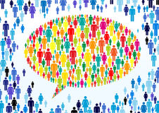 Colourful crowd. Colorful crowd sorroundig a speech bubble Royalty Free Stock Photography