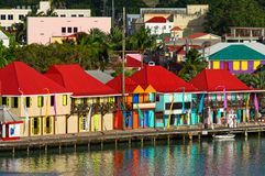 Colourful Cruise Ship Port of St. John`s Harbour, Antigua, West Indies stock photography