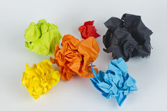 Colourful crumpled paper balls Stock Photo