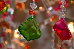 Colourful crystal chandelier detail Royalty Free Stock Photo