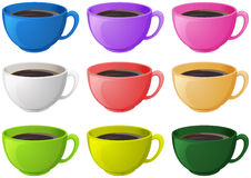 Colourful cups with coffee. Illustration of the colourful cups with coffee on a white background Royalty Free Stock Photo
