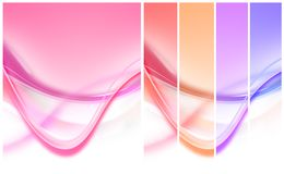 Colourful curves and stripes. In shades of pastel pink, blue, orange and purple. White background below Stock Image