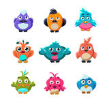 Colourful Cute Birds Vector Illustration Set Stock Images