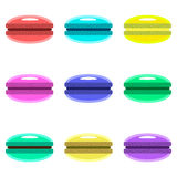 Colourful cute macarons in flat style. Royalty Free Stock Photo