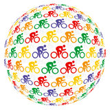 Colourful cyclists. One group of Colourful cyclists Royalty Free Stock Photography