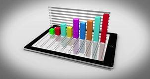 Colourful 3d bar chart on tablet pc Royalty Free Stock Photography