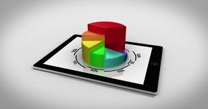 Colourful 3d pie chart on tablet pc Royalty Free Stock Photography