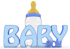 A Colourful 3d Rendered Baby Boy Text. 3d word baby boy concept,  white background, 3d image Royalty Free Stock Photography