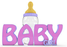 A Colourful 3d Rendered Baby girl text. Stock Photo