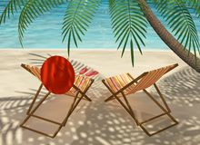 Colourful Deck chairs on the beach Royalty Free Stock Photos