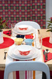 Colourful decorated dining table Stock Images
