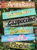 Colourful deska menu kawa Zdjęcia Stock