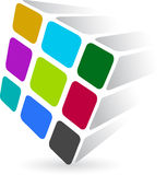Colourful dice logo. Illustration art of a colourful dice logo with white background Stock Photo