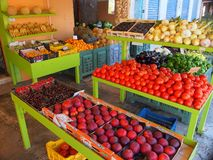 Colourful Fruit and Vegetable Display, Greece. A colourful display of fresh fruit and vegetables outside a Greek shop.Actual location is Argostoli, Kefalonia stock photography