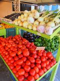 Colourful Fruit and Vegetable Display, Greece. A colourful display of fresh fruit and vegetables outside a Greek shop.Actual location is Argostoli, Kefalonia royalty free stock image