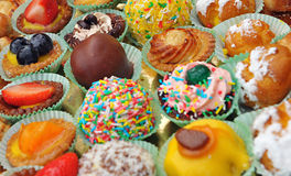 Colourful display of fresh pastries Royalty Free Stock Photo