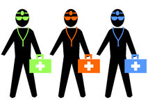 Colourful doctors illustration. Colourful doctors with first aid kit and stethoscope illustration Royalty Free Stock Images