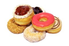 Colourful Donut. On white background royalty free stock photos