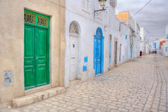 Colourful doors of Kairouan medina Royalty Free Stock Photography