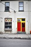 A colourful doorway in red and yellow stock image
