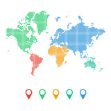 Colourful dotted world map of continents stock photography