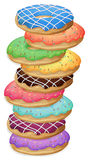 Colourful doughnuts. Illustration of the colourful doughnuts on a white background Stock Photos