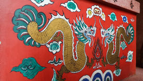 Colourful dragin couple on Chinese Shrine Royalty Free Stock Photo
