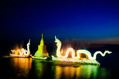 Colourful Dragon on warter twilight. Phayao, Thailand Royalty Free Stock Photos
