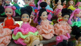 Colourful dress dolls Royalty Free Stock Photography