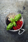 Colourful dried pepper mix and basil Royalty Free Stock Photography