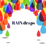 Colourful drops of water on the white background Stock Photos