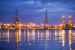 Colourful Durban Harbour South Africa. Durban harbour South Africa just before sunrise Stock Image