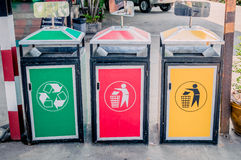 Colourful dustbins Stock Photo