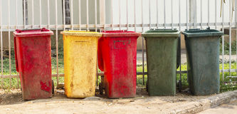 Colourful dustbins in the public area Royalty Free Stock Photography