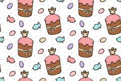 Colourful Easter cakes seamless pattern. Yummy Easter cakes pink glaze with colourful eggs and rabbits seamless pattern on white background royalty free illustration