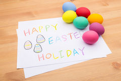 Colourful easter egg and children drawing Royalty Free Stock Image