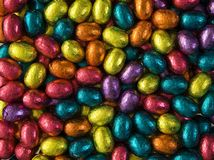 Colourful Easter Eggs. Background from colourful chocolate Easter eggs stock image