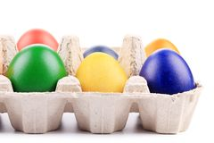 Colourful easter eggs in box. Royalty Free Stock Photos