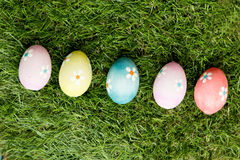 Colourful Easter Eggs on the grass royalty free stock images