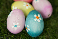 Colourful Easter Eggs on the grass Stock Photo