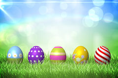 Colourful easter eggs on the grass Royalty Free Stock Image