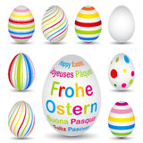9 colourful easter eggs Stock Photo